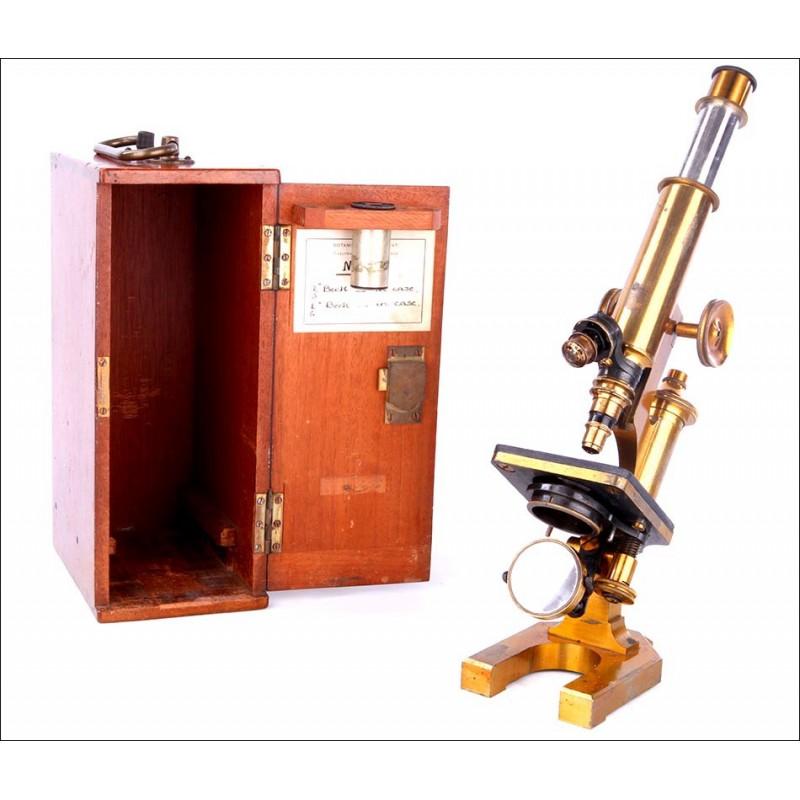 Fantástico Microscopio Antiguo R. & J. Beck en Estuche Original. Inglaterra, 1880