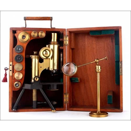 Microscopio Antiguo Swift & Son con Accesorios. Inglaterra, Circa 1900