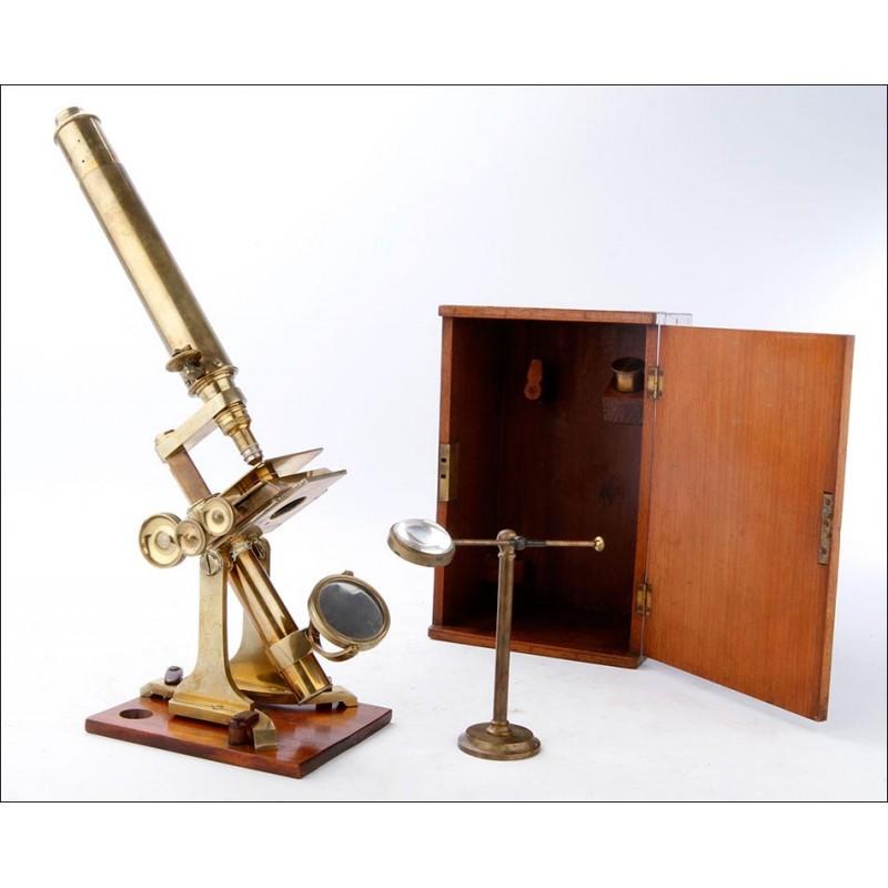 Antiguo Microscopio Profesional J. Newton & Son. Inglaterra, 1870