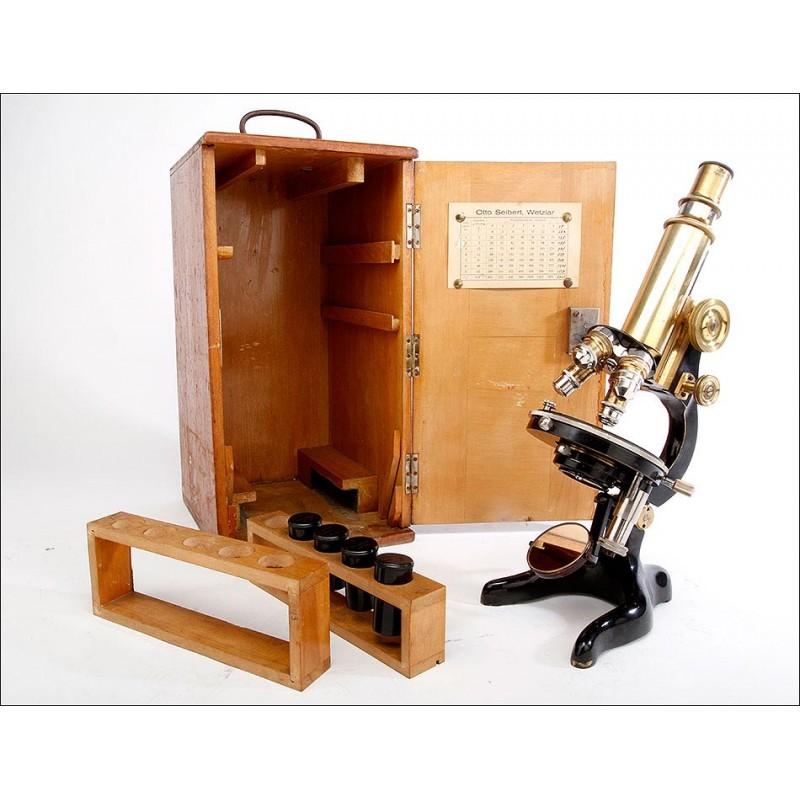 Magnífico Microscopio Otto Seibert en Perfecto Funcionamiento. Alemania, Circa 1915