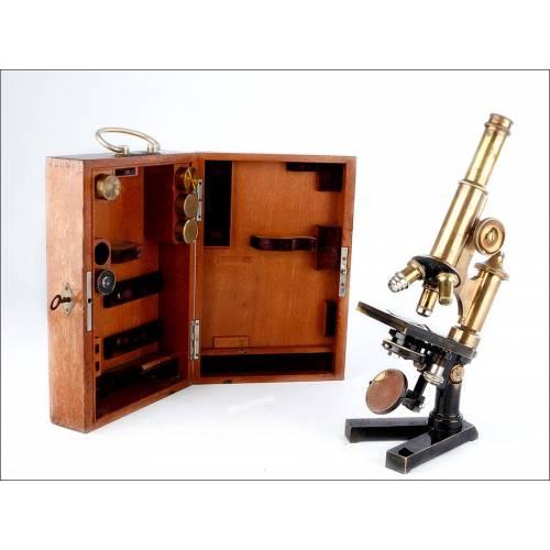 Raro Microscopio Plegable Ernst Leitz Wetzlar. Alemania, Circa 1901