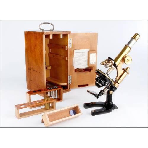 Antiguo Microscopio E. Leitz Wetlzar en Excelente Estado. Alemania, 1912