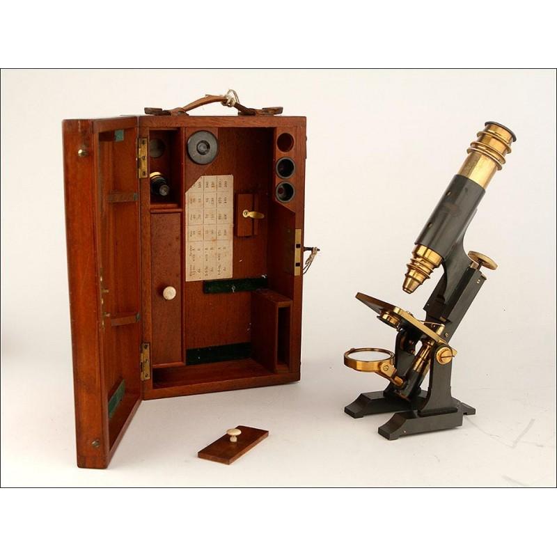 Fantástico Microscopio Antiguo en Estuche Original. Inglaterra, 1910-20
