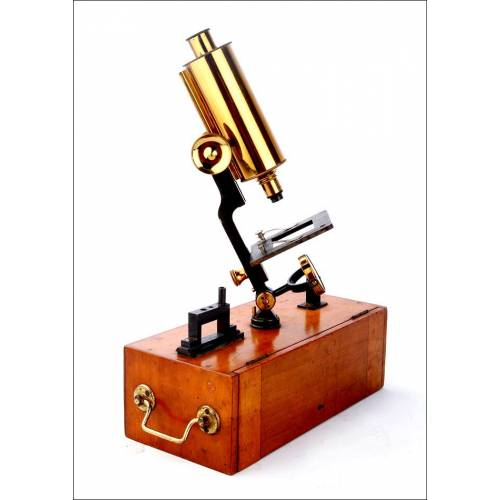 Raro Microscopio con Dos Posiciones en Muy Buen Estado. Inglaterra, Circa 1900
