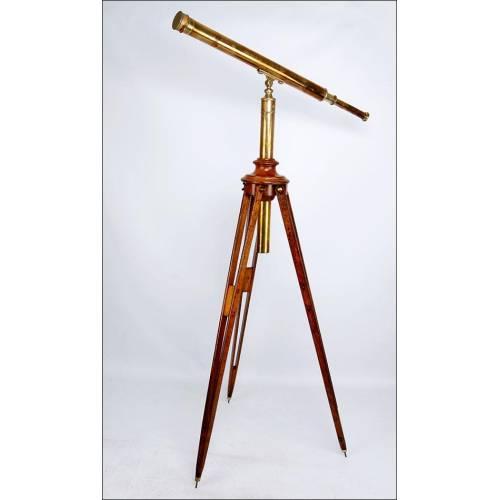 Impresionante Telescopio Celeste Antiguo con Trípode Original. Circa 1880