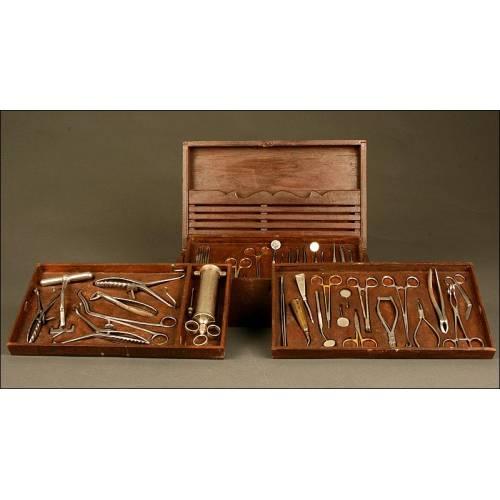 Gran Estuche Antiguo con Instrumental de Dentista, Circa 1920. Completo y En Buen Estado