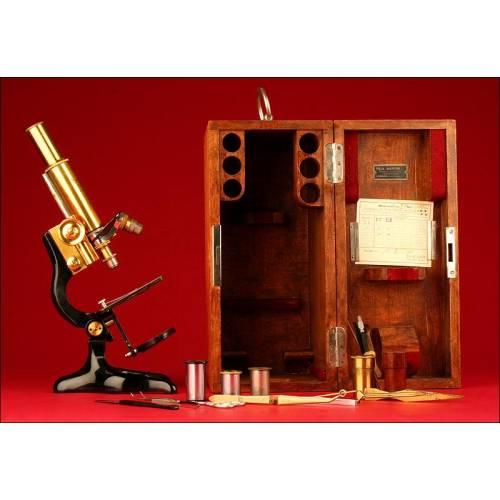 Magnífico Microscopio Enrst Leitz Wetzlar Fabricado en 1926. En Buen Estado de Conservación y Funcionamiento