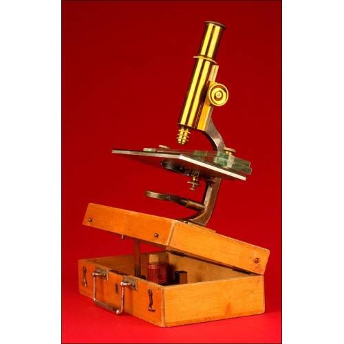 Raro Microscopio de Viaje Alemán, Fabricado por la Marca Schieck Circa 1900. En Funcionamiento