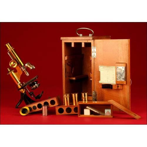 Antiguo Microscopio Ernst Leitz Wetzlar de 1901. En Buen Estado y con Estuche Original