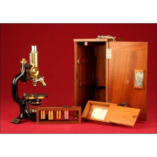 Microscopio Alemán C. Reichert, 1.910. En Muy Buen Estado de Conservación y Funcionamiento