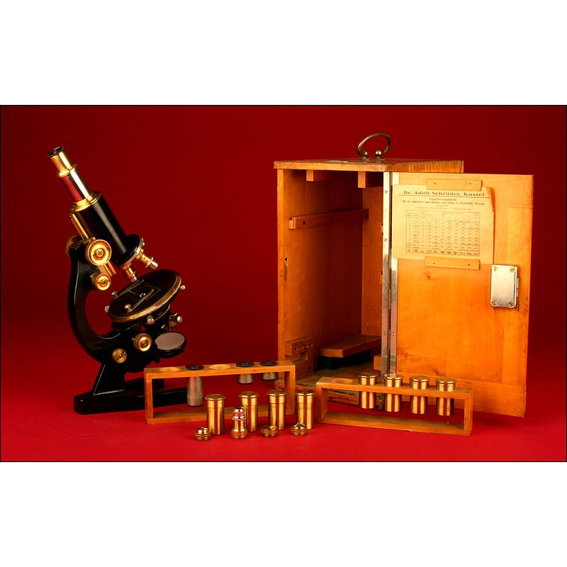 Microscopio Alemán Dr. Adolf Schröder, Principios del Siglo XX. Funcionando a la Perfección