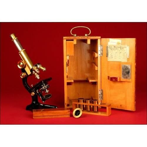 Microscopio Ernst Leitz Wetzlar de 1.909. Estuche Original. Bien Conservado y Funcionando.