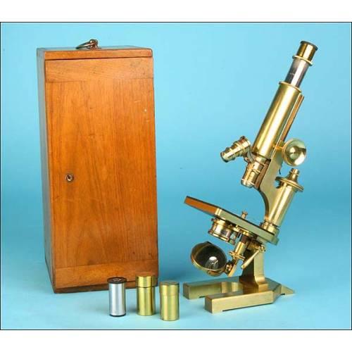 Microscopio de latón R & J. Beck . 1900