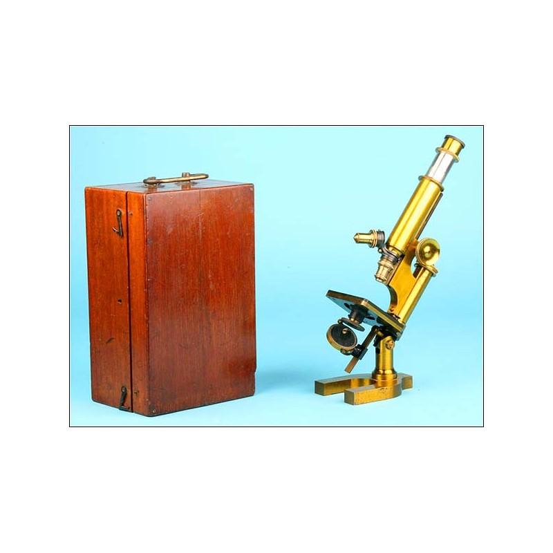 Microscopio de latón R & J Beck - Circa 1880
