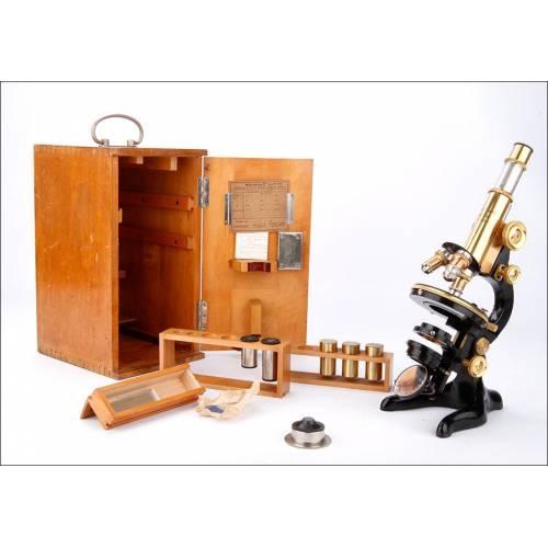 Magnífico Microscopio Antiguo E. Leitz Wetlzar en Funcionamiento. Alemania, 1922