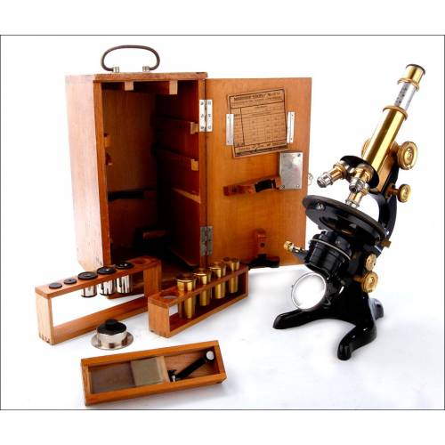 Completo Microscopio E. Leitz Wetlzar en Muy Buen Estado. Alemania, 1920