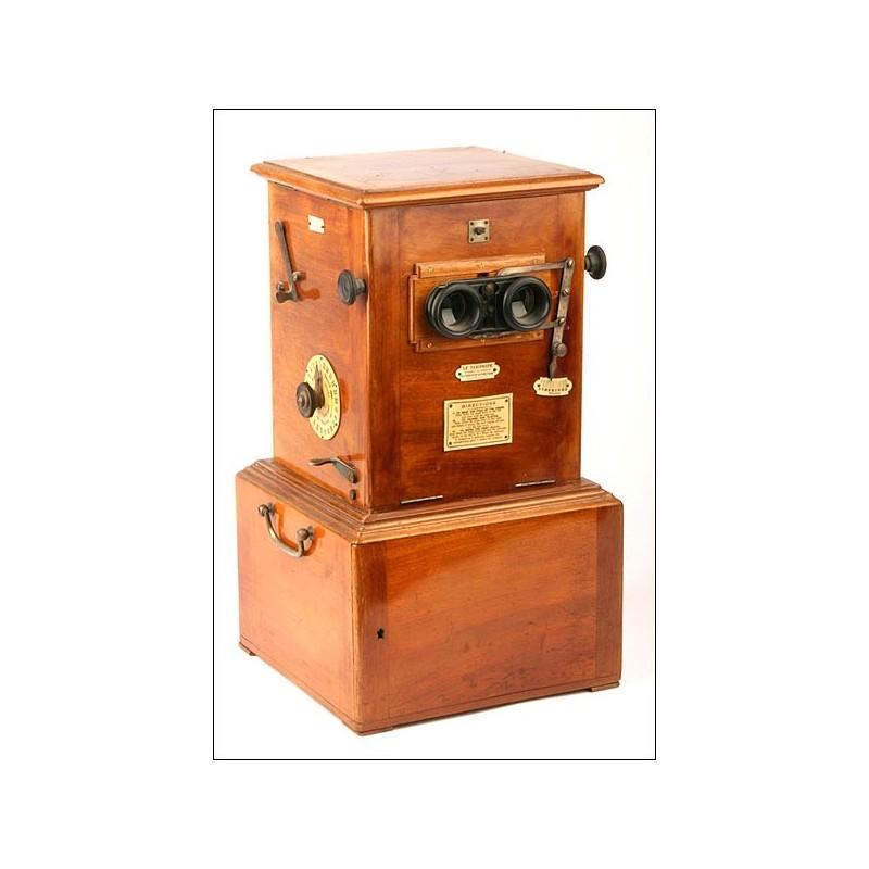 Estereoscopio Jules Richard de 1905, con Colección de 250 Placas de Cristal Estereoscópicas