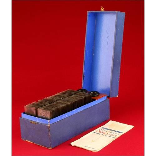 Estuche con Estereoscopio manual Stereoscovi y colección de cristales estereoscópicos de la Vida de Jesús. París, ca.1920.