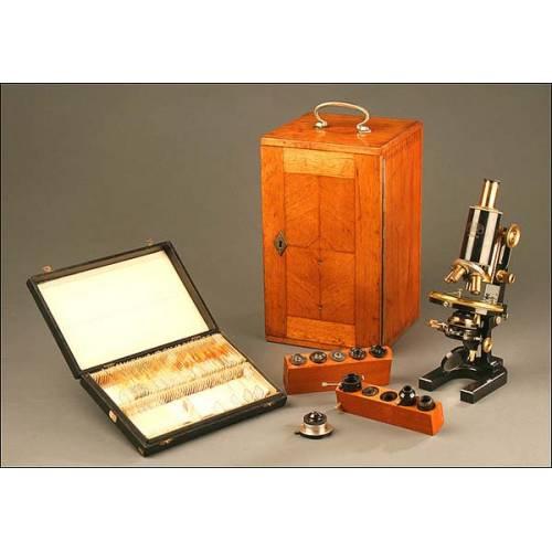 Microscopio profesional Carl Zeiss Jena, Alemania, Año 1910-1920