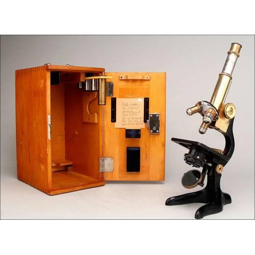 Magnífico Microscopio E. Leitz Wetlzar Funcionando Muy Bien. Alemania, 1921