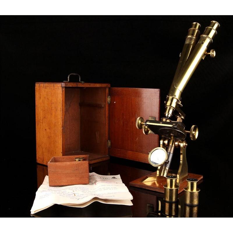 Antiguo Microscopio Binocular Inglés del Siglo XIX. Hudson & Son. Funcionando. Con Estuche y Documentos