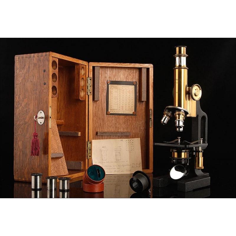 Importante Microscopio Alemán Busch. Muy Bien Conservado. Circa 1915, en Perfecto Funcionamiento