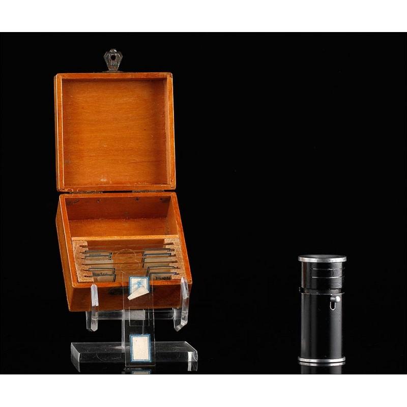 Microscopio de Bolsillo con Estuche y Preparados, Fabricado a Principios del Siglo XX. Funcionando