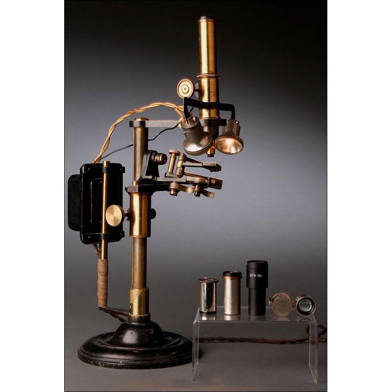 Raro Microscopio Alemán Para Muestras Tridimensionales. Circa 1900. Funcionando Bien