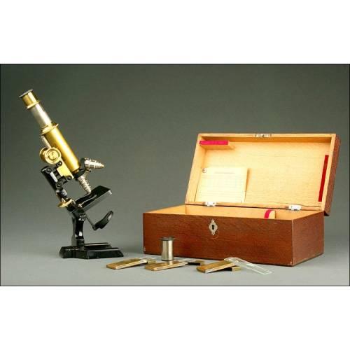Microscopio Alemán R. Krügelstein de 1890. Perfectamente Conservado y Funcionando