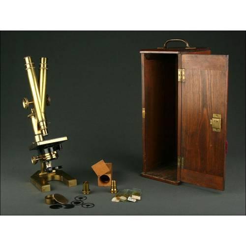 Raro Microscopio Binocular Inglés R&J Beck, Año 1890. Funcionando, con Estuche y Accesorios