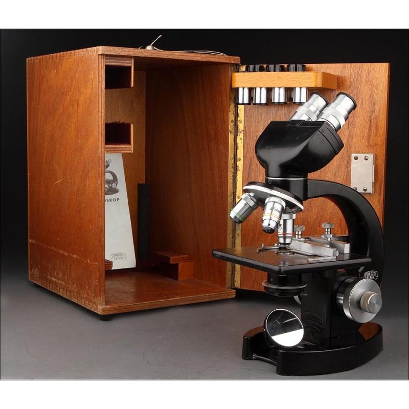 Fantástico Microscopio Binocular Steindorff Fabricado en Alemania en los Años 60. Estuche de Madera Original