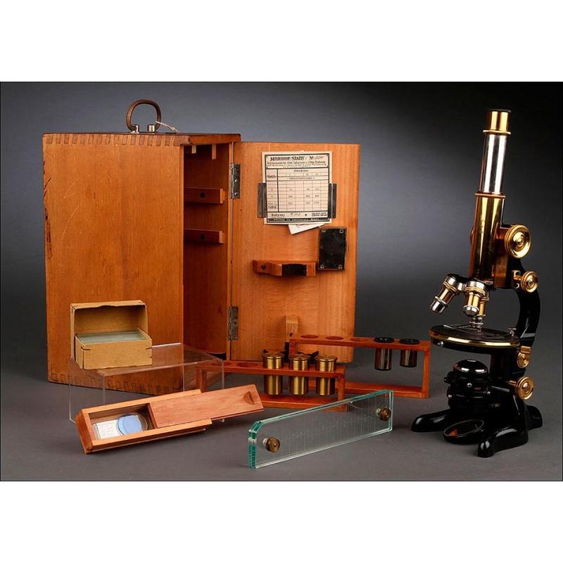 Microscopio Alemán E. Leitz Wetzlar, 1920. Estuche Original y Perfecto Funcionamiento