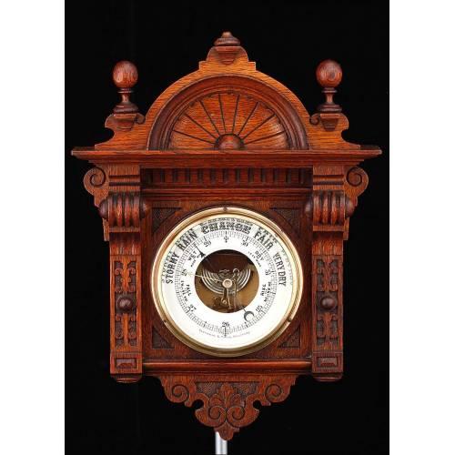Precioso Barómetro de Pared Marca Fattorini & Sons. Inglaterra, 1900. Funcionando perfectamente