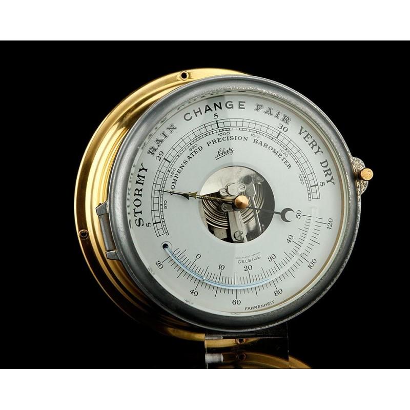 Precioso Barómetro de Barco Vintage Schatz Funcionando Bien. Inglaterra, Años 70