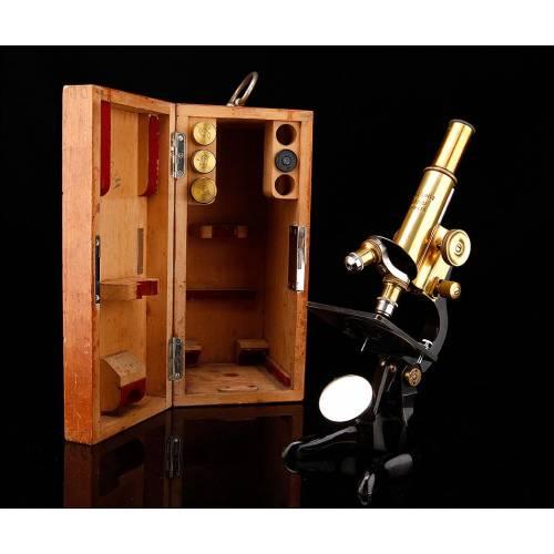 Magnífico Microscopio Leitz Fabricado en Alemania en 1926. En Perfecto Estado de Funcionamiento