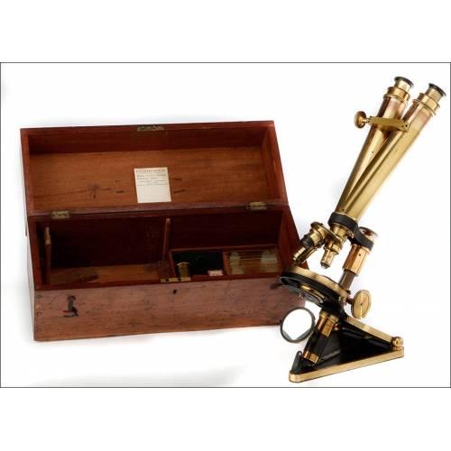 Fantástico Microscopio Binocular,Smith Beck & Beck. Inglaterra, 1860