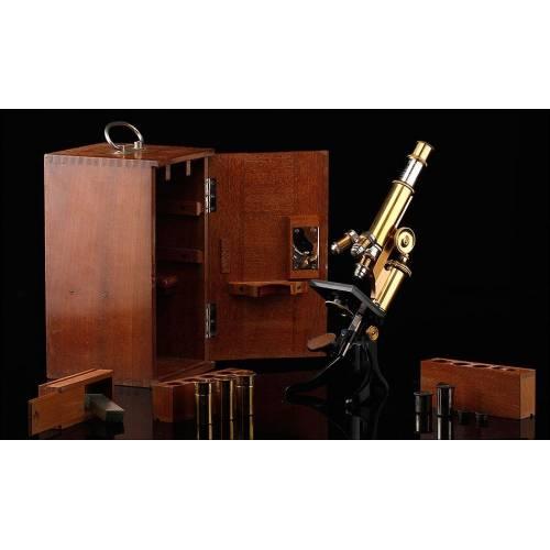 Impresionante Microscopio E. Leitz Wetzlar en Buen Estado y Funcionando. Alemania, 1904