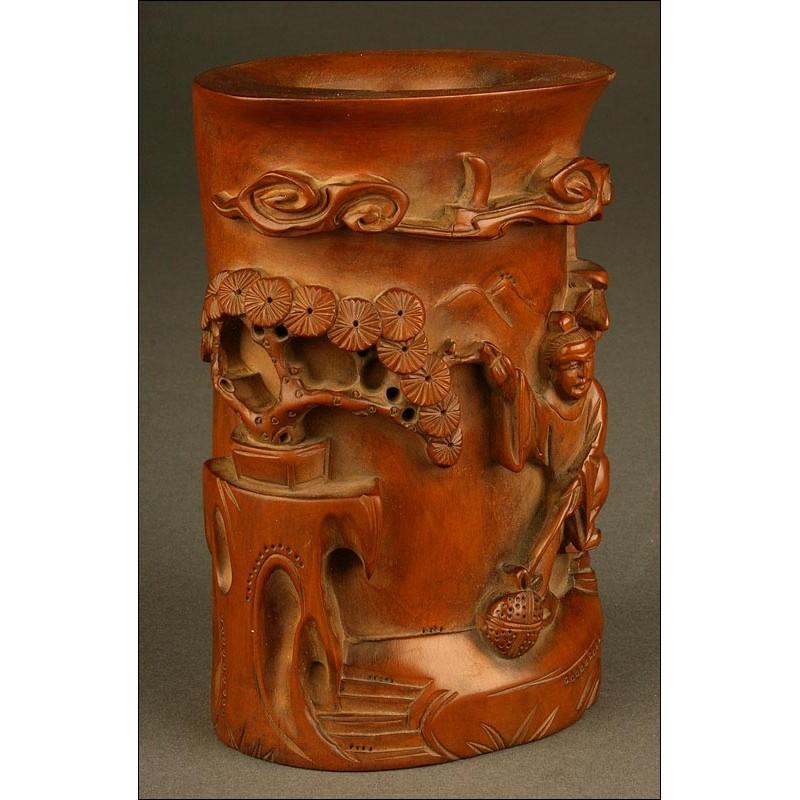 Bote Chino Para Pinceles de Madera de Bambú. Tallado a Mano y en Muy Buen Estado de Conservación