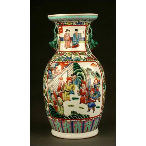 Precioso Jarrón de Porcelana China de Principios del S. XX. Pintado a Mano y en Perfecto Estado