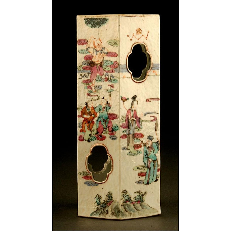 Original Soporte Chino de Porcelana para Sombreros y Pelucas. S. XIX o Anterior. Decorado a Mano