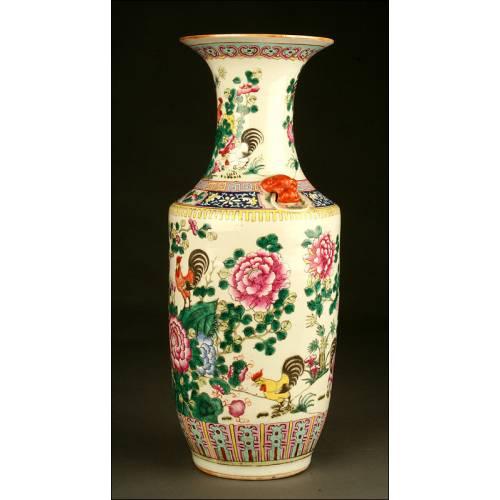 Importante Jarrón Chino de Porcelana Familia Rosa. Siglo XIX Pintado a Mano. 58 cms