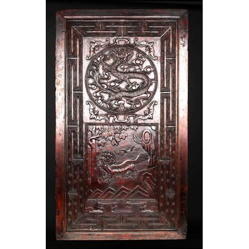 Bello Panel Decorativo de Madera Maciza Tallada a Mano. Realizado en China en el Siglo XIX