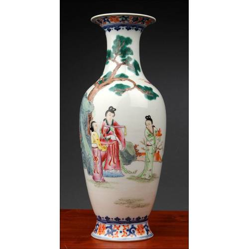Antique Chinese Hand Painted Porcelain Vase with Country Scene. Mark of Jiaqing