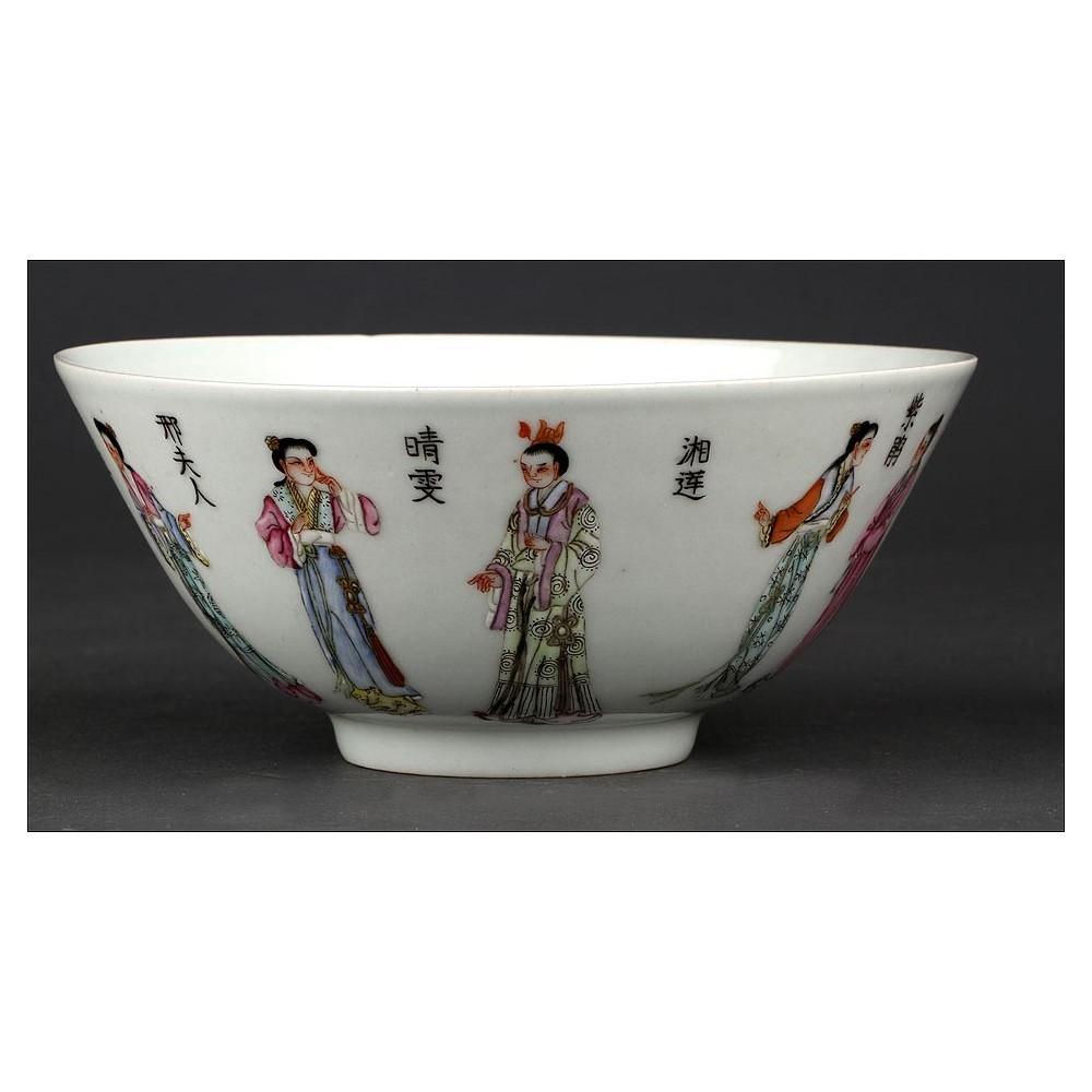 Delicado cuenco chino de porcelana pintada a mano con for Marcas de vajillas de porcelana
