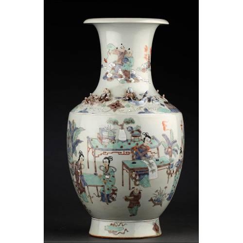 Precioso Jarrón Chino de Porcelana Pintado a Mano. Sin Desperfectos. Marca de Yongzhen