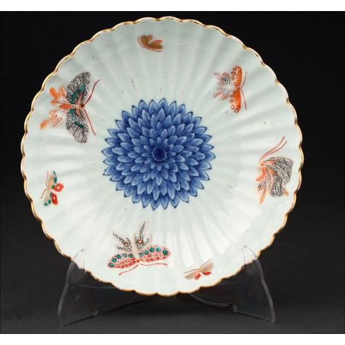 Elegante Cuenco Chino de Porcelana Con Marca Wan Li con Decoración Realizada a Mano.