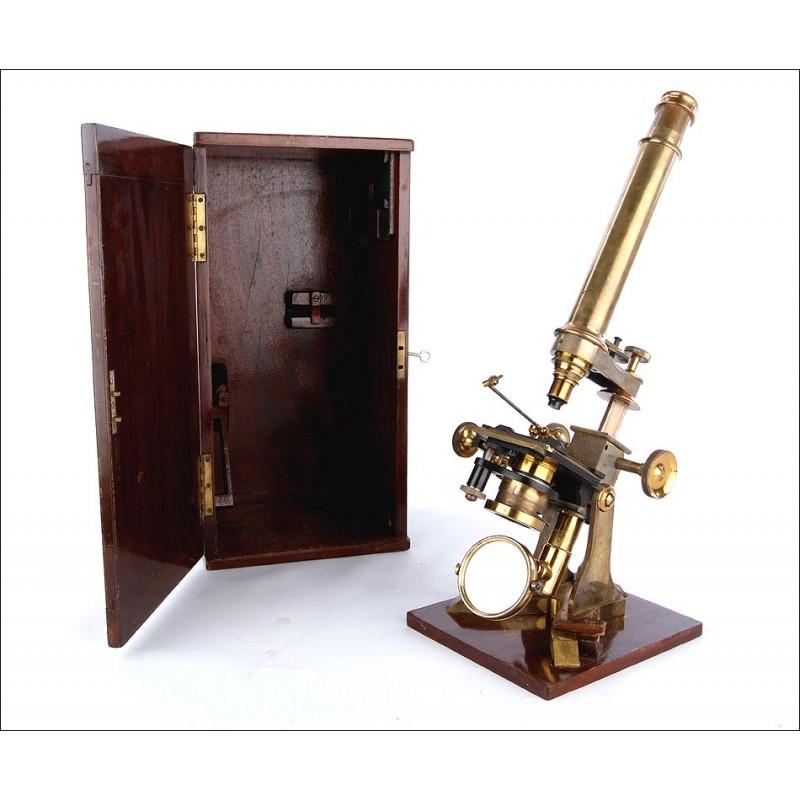 Microscopio Monocular Antiguo Anderson & Sons con Estuche de Caoba. Inglaterra, Circa 1885