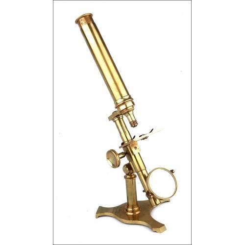 Microscopio Antiguo de Latón Dorado J. Amadio en Excelente Estado. Inglaterra, Circa 1850