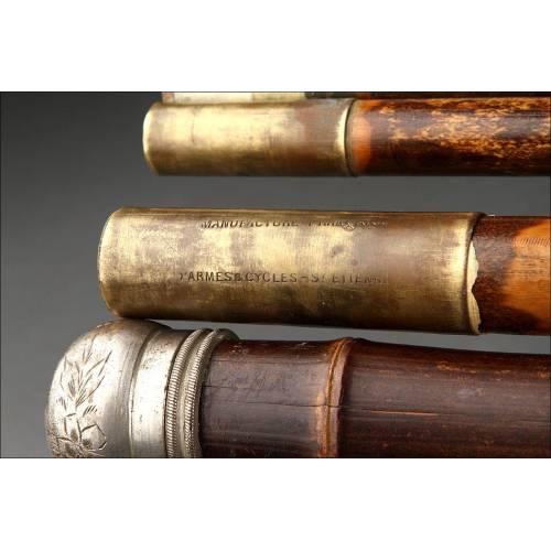 Bastón de Sistema con Caña de Pescar. Fabricado en Francia en el Siglo XIX. Firmado