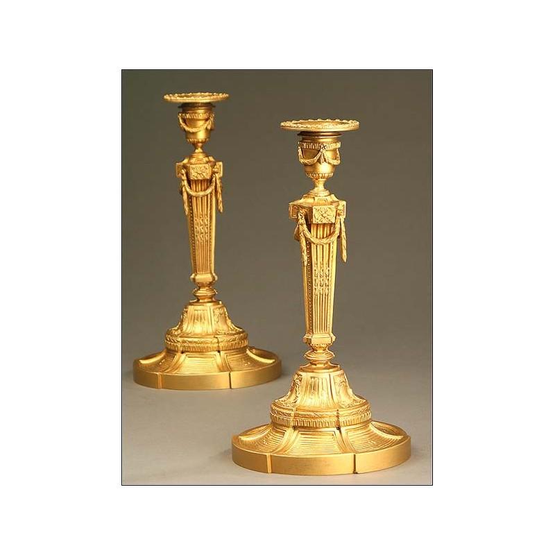Candeleros de Bronce de Época Napoleón III, Francia, Año Circa 1830-1870